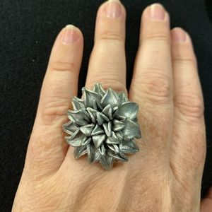 Silver leather flower ring